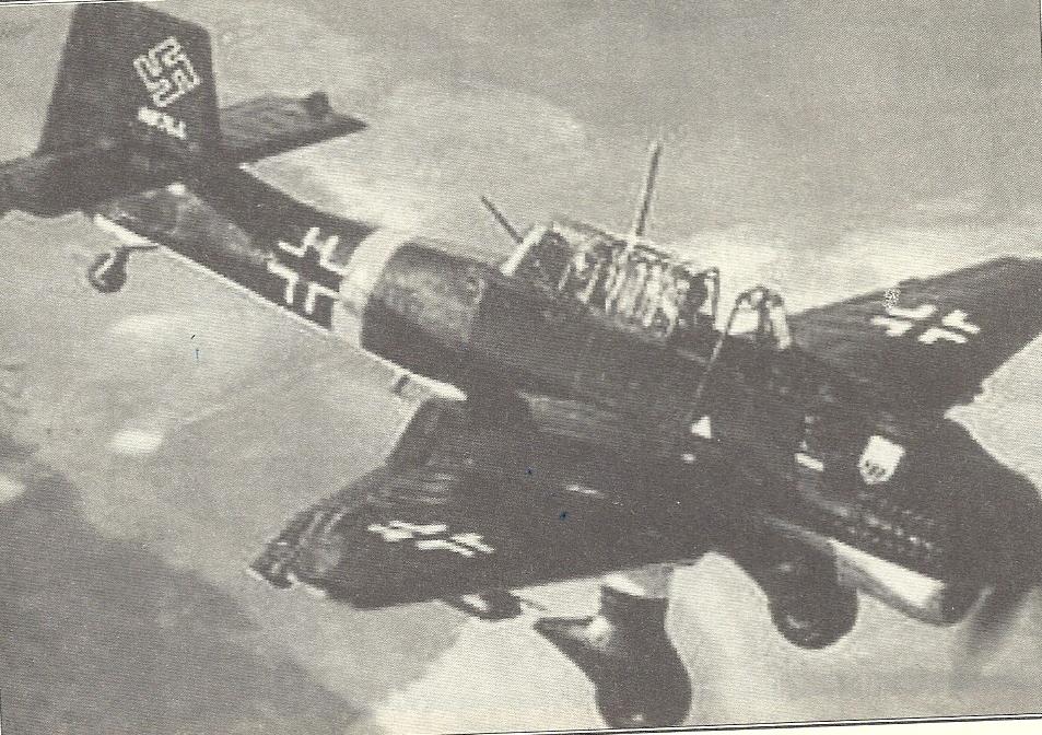 """Τύποος βομβαρδιστικού Γερμανικού αεροπλάνου """"STOUKAS""""που προσγειώθηκε στις Μεργιές την 1-7-1943"""