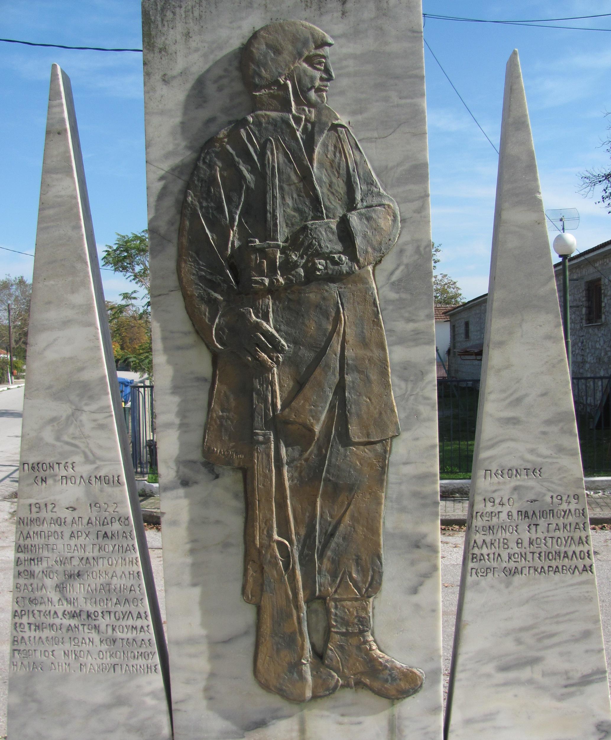 Μνημείο Πεσόντων Γελανθιωτών.  Στην αριστερή στήλη εμφανίζονται οι πεσόντες του 1912-1922, ενώ στη δεξιά οι πεσόντεσ του 1940-1949.